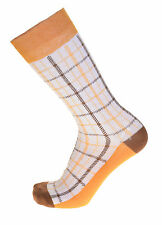 Steven Land Mens White With Gold & Brown Check Cotton Dress Socks
