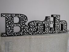 Black Diamante Free Standing BATH Wooden Bling Word Bathroom Ornament Decoration