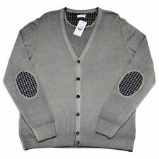 Men's COUNTRY CLUB Italy Gray 6Btn Elbow Patch Cardigan Sweater 54 XL NWT $350!