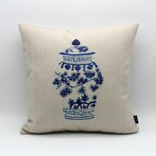 """18"""" Chinese Blue And White Porcelain Retro China Linen Cushion Cover Pillow Case"""