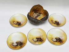 6 pcs SET ANTIQUE NORITAKE JAPAN HAND PAINTED WALNUT SHAPED BOWL & PLATES