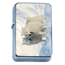 Windproof Refillable Flip Top Oil Lighter Wolf D1 Wilderness Animal Dog Hunter