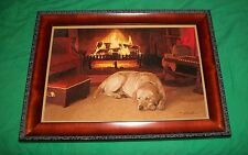 JOHN WEISS GICLEE PRINT ART LABRADOR RETRIEVER DOG FIRE CABIN PICTURE S/N DECOR