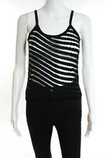 Armani Collezioni Black Stretch Striped Spaghetti Strap Tank Top Size 4 NEW