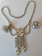 VINTAGE WEISS SIGNED CLEAR RHINESTONE DANGLING NECKLACE & EARRINGS