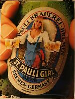 """Vintage St. Pauli Girl Beer 18 x 24"""" Poster Sexy Germany"""