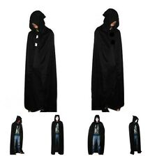 "69"" Hooded Cape Adult Unisex Long Cloak Black Halloween Costume Dress Coats 6L"