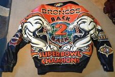 Jeff Hamilton DENVER BRONCOS Jacket Coat SUPER BOWL CHAMPS LambSkin Leather Used