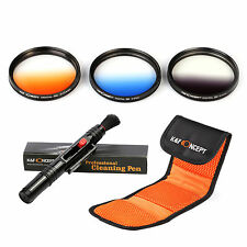 77mm Graduated Filter Kit Gradual color ND grey blue orange filter +CLEANING PEN