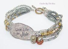 Retired Silpada Pearl Brass Sterling Silver Bead Bracelet B2254