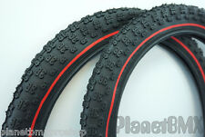 "18"" x 2.125"" Kenda K50 Comp III BMX tire set BLACK with RED PINSTRIPE new"