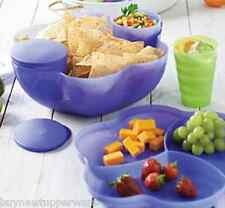 Tupperware Chip 'N Dip Party Set Punch Salads + 2 Dip Bowls Berry Bliss Blue New
