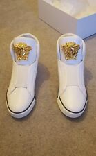 Versace medusa white leather high top sneakers UK 9 100% authentic-BNIB