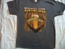 New Men's Size L Hunting Deer Drinking Beer Funny T Shirt NWT Deer Hunting