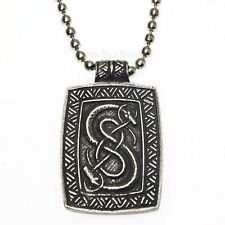 New Pewter Loki of Urnes Viking Snakes Carving Pendant Necklace V10