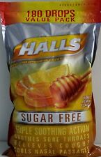 Halls Sugar Free Cough Drops Honey Lemon Triple Soothing Action 180 Count