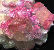 CUTE HOT PINK COVERED WHITE VESUVIANITE CRYSTALS!RARE JEFFREY MINE,QUEBEC,CANADA