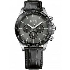 Hugo Boss 1513177 Men's Ikon Stainless Steel Black Leather Chronograph Watch