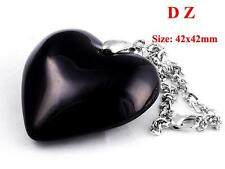 c004427 Fashion Black Crystal Glass Heart Bead Pendant Chain Necklace Jewelry