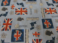 "Blue ""The Queen"" Queen Elizabeth, British Flag 100% Cotton Fabric."
