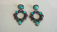 """BEAUTIFUL SIGNED """"NAKAI"""" STERLING SILVER, NATURAL ASSORTED STONE EARIINGS"""