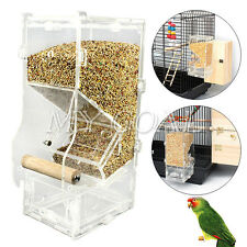 Pet Bird Parrot Clear Acrylic Canary Cockatiel Cage Automatic Feeder Hanging Toy
