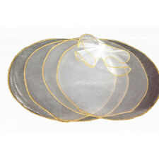 9 inch white organza circles 50 pcs gold edge candy favor wrap