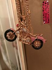 Cute NWT Betsey Johnson Necklace Pink Motorcycle �� So Adorable Biker Girl