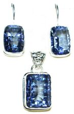 Blue Mystic Fire Quartz Sterling Silver SET Pendant + Earrings 925 Jewellery NEW