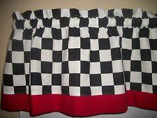 """Black White 1 1/2"""" Checks Coke Coca Cola Retro fabric Kitchen curtain Valance"""