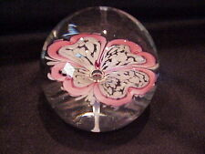 Vintage Glass Paperweight With Large Flower