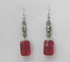ART DECO STYLE EARRINGS RECTANGULAR RED ACRYLIC CRYSTAL DARK SILVER PLATED