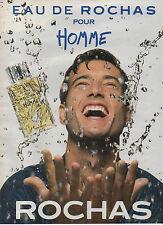 Publicité Advertising 1990  // parfum  EAU DE ROCHAS  pour homme  ROCHAS ...