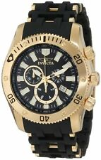 Invicta Men's Sea Spider Chronograph Gold Plated Black Polyurethane Watch 0140