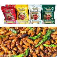 4 FLAVOR OF THAI FRIED CRISPY CHRYSALIS EDIBLE INSECT BUG(ASSORTED LOCAL SNACK)