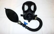 GAS MASK Respirator Rubber HOSE Tube w AIR VALVE~Bondage Fetish Latex Hood Use