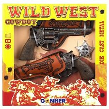 Gohner Wild West Cowboy Double Toy Gun Set - styled just like a real cowboy -New