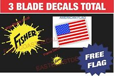 2 pc Large Fisher Snow Plow Decal Kit with NEW Large Blade Sticker & Mini FSYEL1