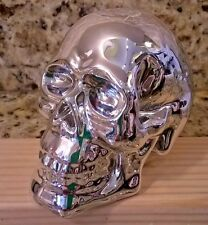 NEW SILVER CHROME SKULL SKELETON BONES HALLOWEEN WITCH SPELL NEW AND MINT!