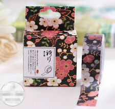 Black Flower Style Paper Sticky Lable Sticker Decorative Masking Washi Tape