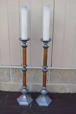 + Pair Old Church  Altar Brass Candlesticks + chalice co. + (CU436) Procession