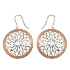 925 Sterling Silver Earrings- Rose Gold Plated Cut-out Disc w/Silver Flower Hook