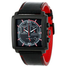 NEW MENS CITIZEN ECO-DRIVE (AT2215-07E) BLACK LEATHER CHRONOGRAPH MFD WATCH
