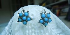 Antique French Doll Jewelry Pale Blue Silver tone Earrings Jumeau Bebe Bisque