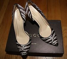 AUTHENTIC! $895 GUCCI PONY ANIMALIER/ NAPPA CHARLOTTE PUMP sz 38 ita/ 8us