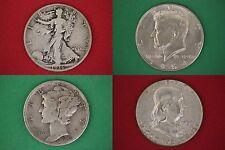 $9.00 Face Value Ben 1964 Ken Mercury Walker Junk 90% Silver Coins