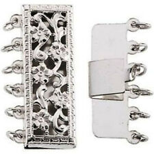 6-Strand Rectangle .925 STERLING SILVER Filigree Clasp 24mm x 15mm- Beautiful!