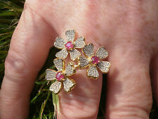 Genuine Burmese Ruby Triple Flower 14K Y Gold/925 Ring Size O