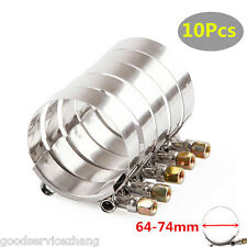 """10x 2.5"""" 64-74mm Premium Stainless Steel T-Bolt Turbo Silicone Hose Clamp Clamps"""