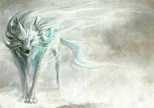 A3 Poster – Fantasy Blue & White Dire Wolf in the Snow (Picture Print Art)